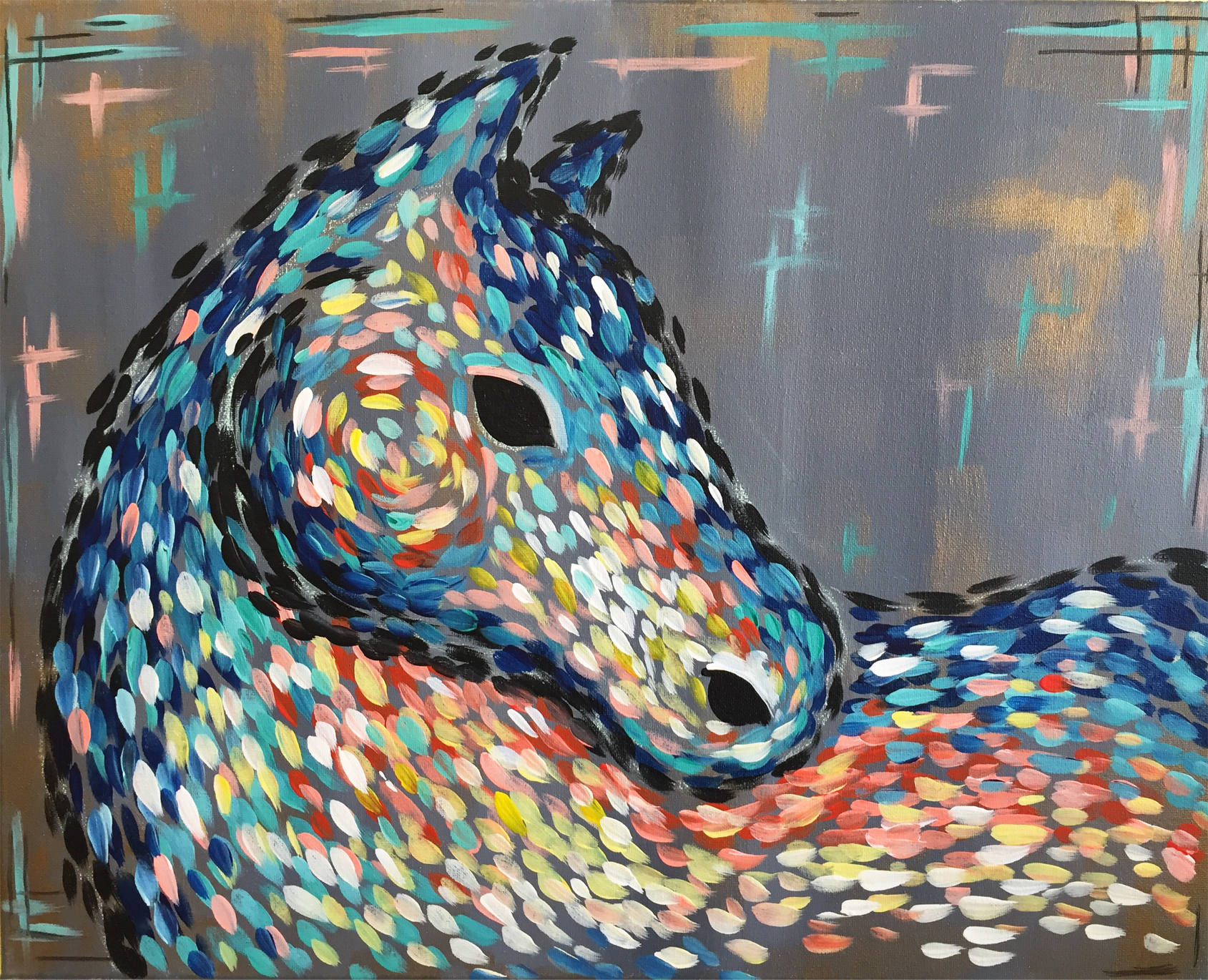 Abstract horse pinot 39 s palette painting for Sip and paint houston